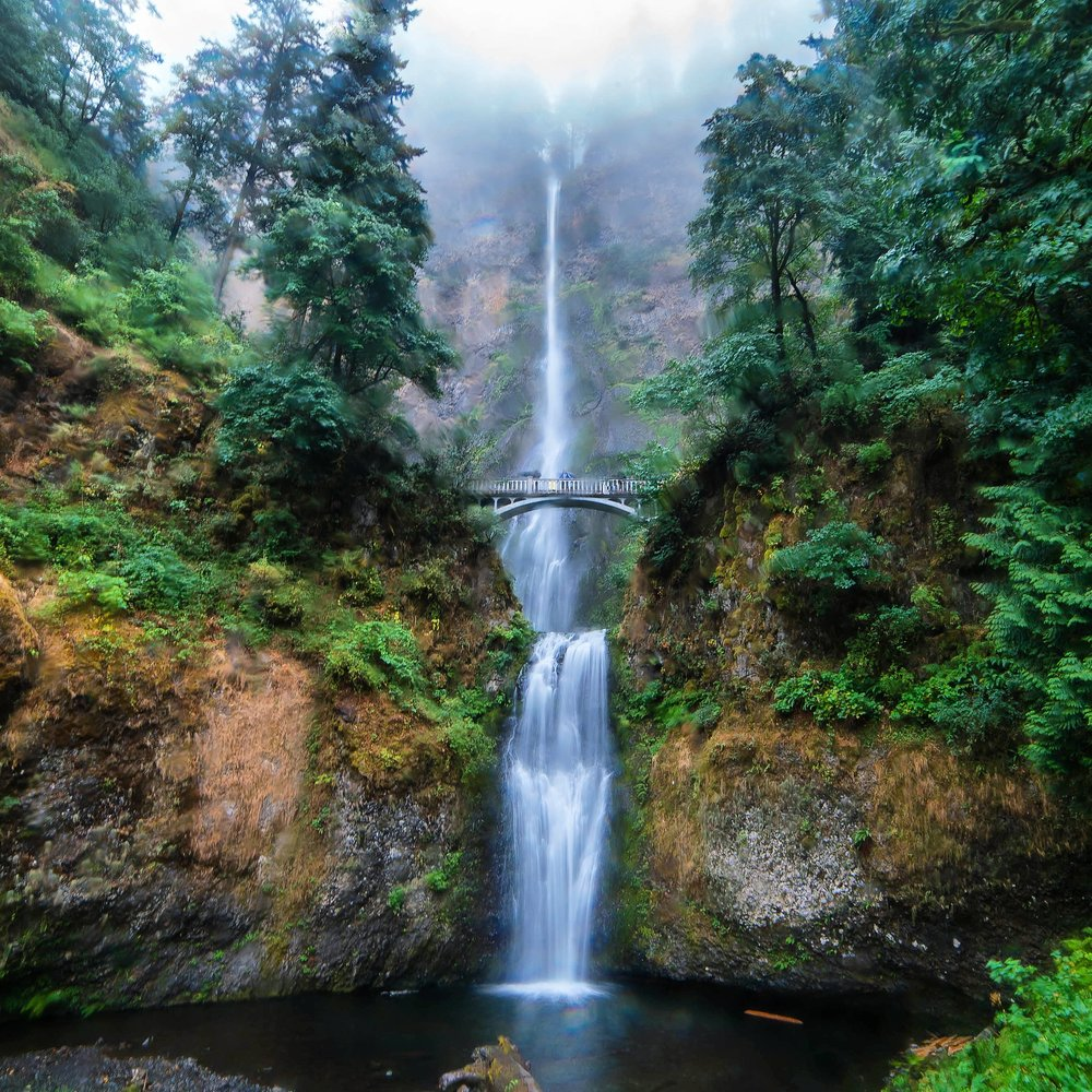rainy day at Multnomah Falls