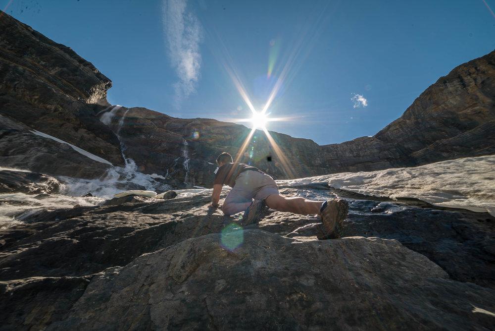 climbing Bow Glacier Falls