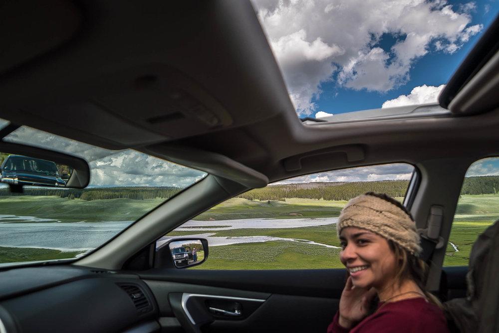 driving around Yellowstone National Park