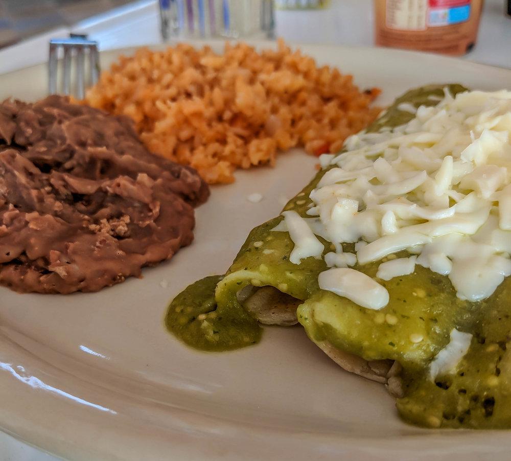 salsa verde chicken enchilada (Jose Falcon)