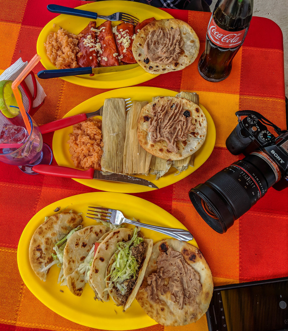 top to bottom: enchiladas, tamales, and goat tacos! (the entire Boquillas restaurant menu)