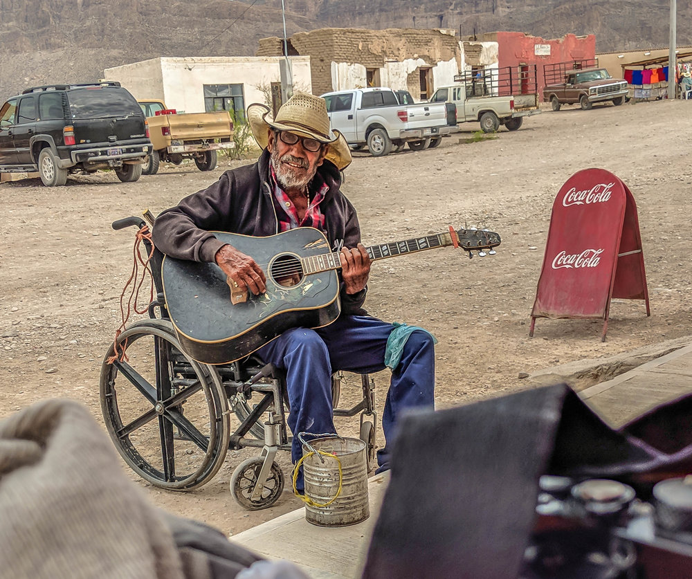 local musician playing for Boquillas Restaurant