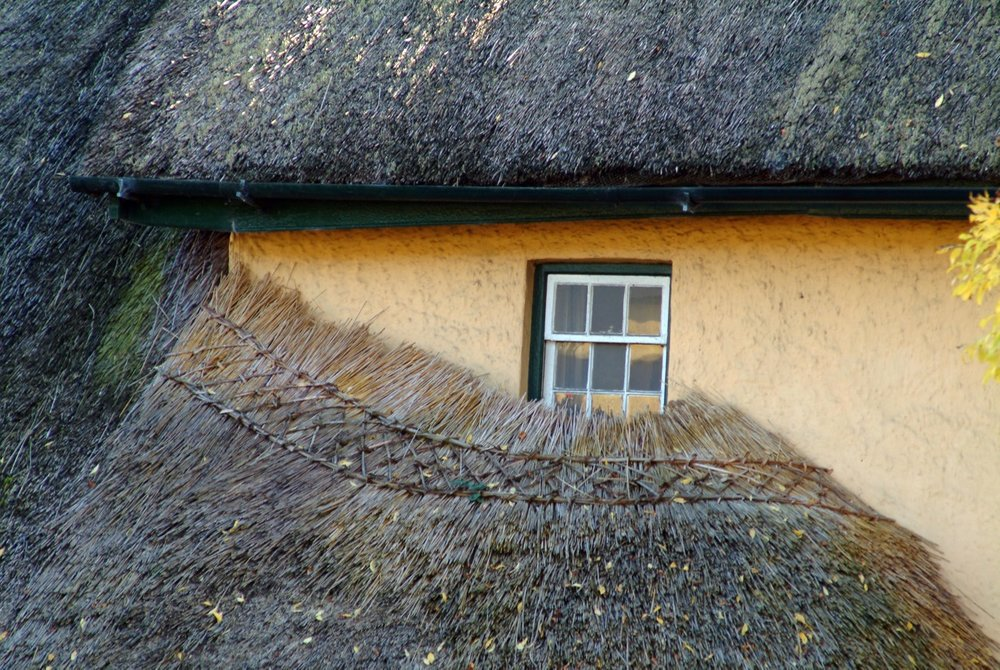 There still are villages where lots of houses have thatch roofs. I just loved how this roof is woven under the window.