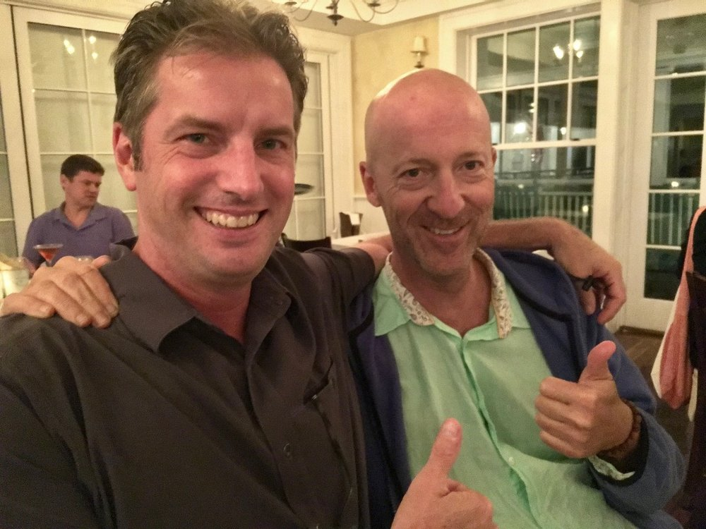 With my buddy, the author Paul Dolman, at dinner last year.
