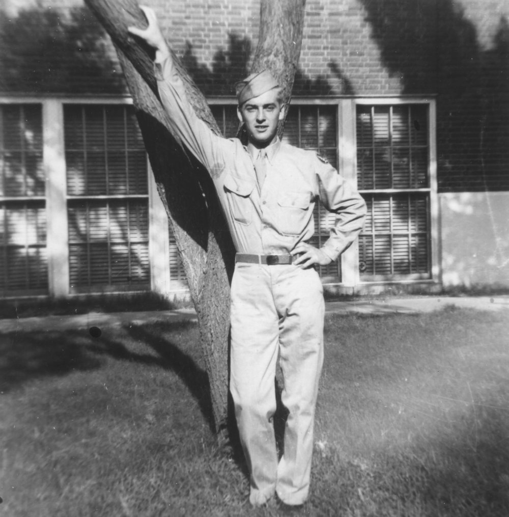 Dad in Great Bend, Kansas during training, 1943.