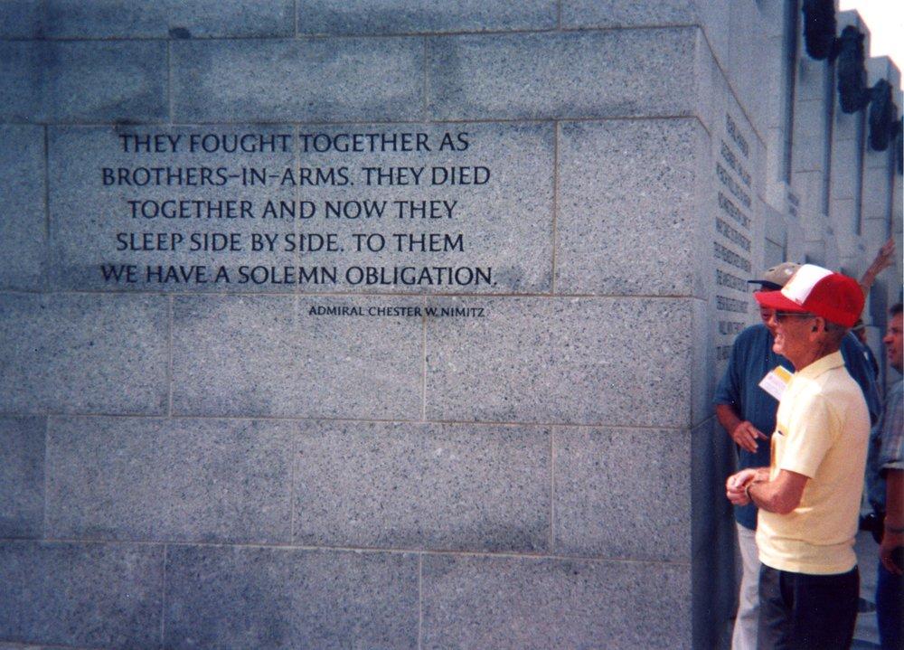 At the World War II Memorial in Washington, DC