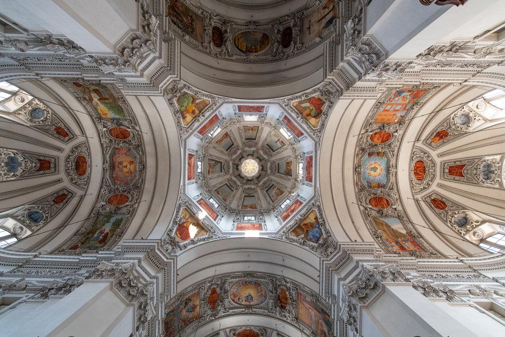 Ceiling of Salzburg Cathedral, Salzburg, Austria