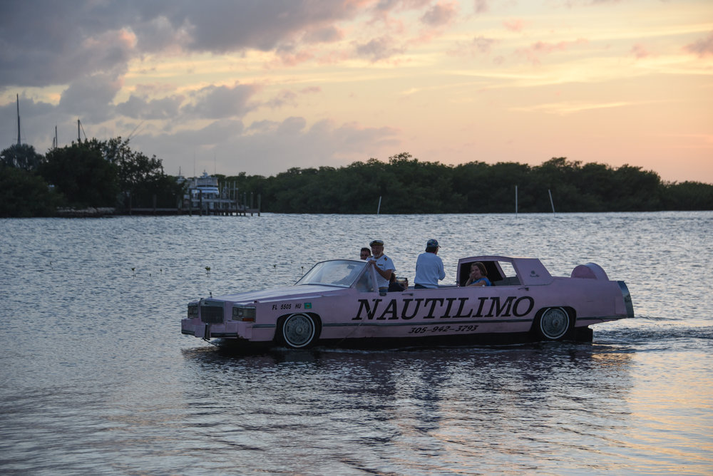 Traveling in Florida - an amphibious Cadillac limo.