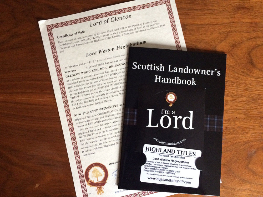 Certificate of Sale  &  Scottish Landowner Handbook