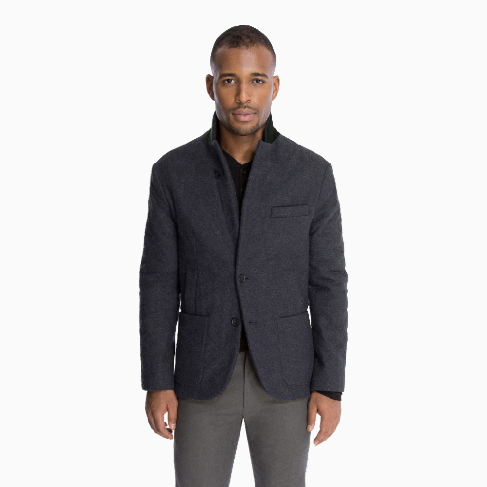 Quilted Outerwear Jacket in Charcoal