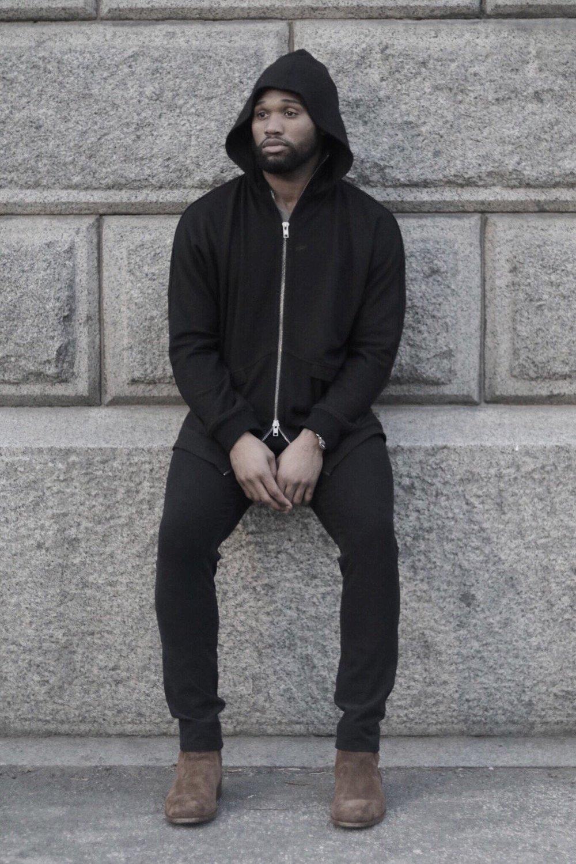 Omar Bolden in Black Dolman Hoodie by REINGE