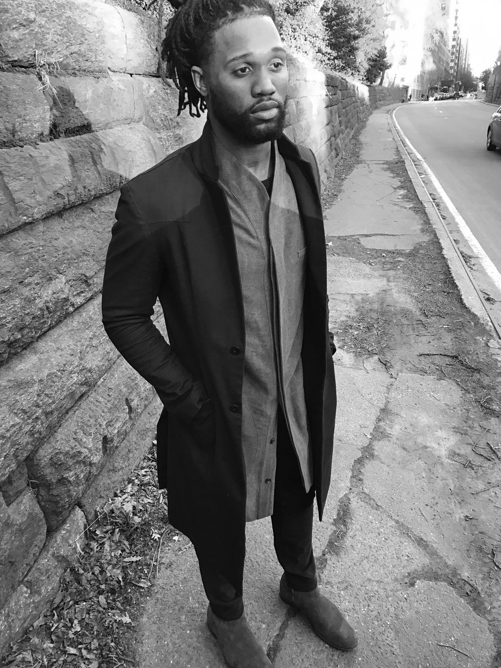 Omar Bolden wearing The Tunic Shirt + The Lapel Coat, by REINGE.