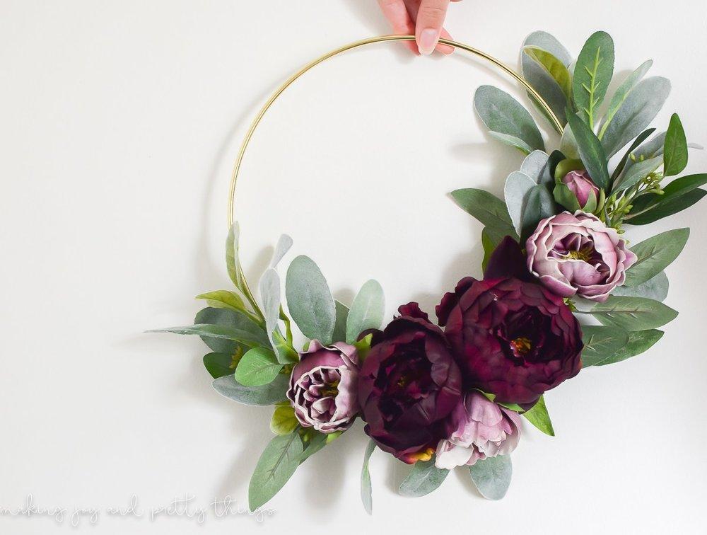 1. DIY Modern Gold Ring Wreath - making joy and prettty things blog
