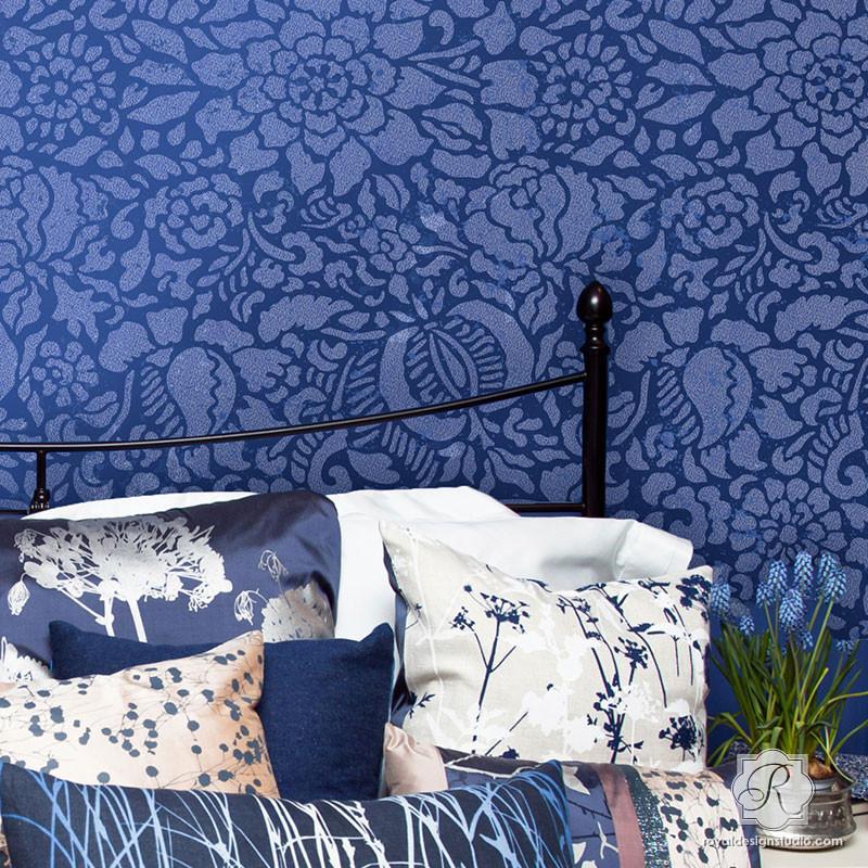 4. Francesca Floral Damask Stencil - Royal Design Studio
