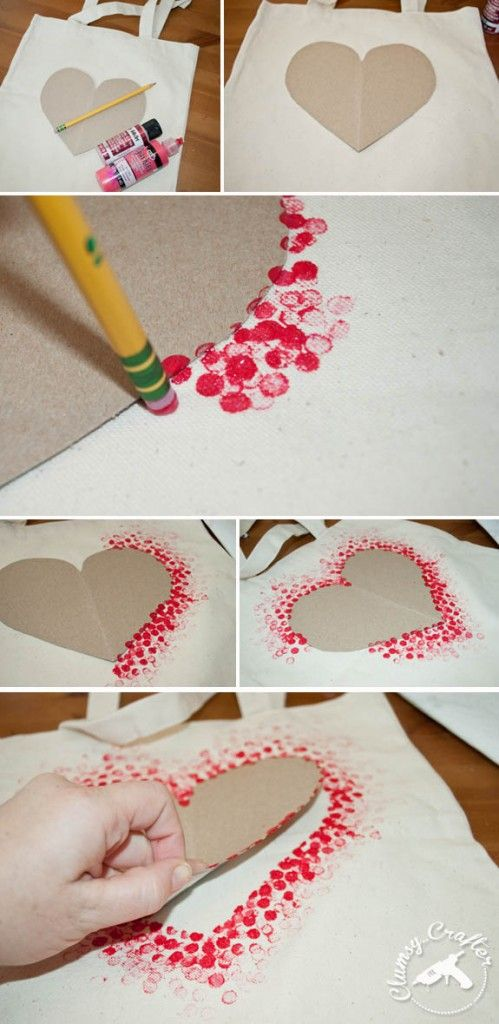 4. Heart tote bag - Clumsy Crafter