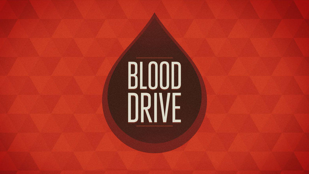 Sunset Church of Christ blood drive announcement.