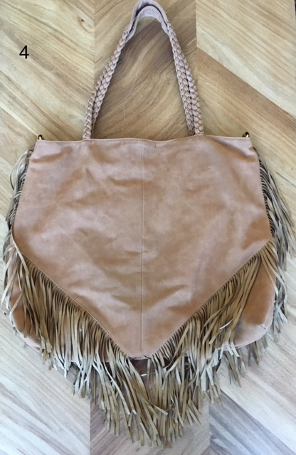 Vegan Leather tote - tan with fringe – great bigger purse, great color, cool and different.