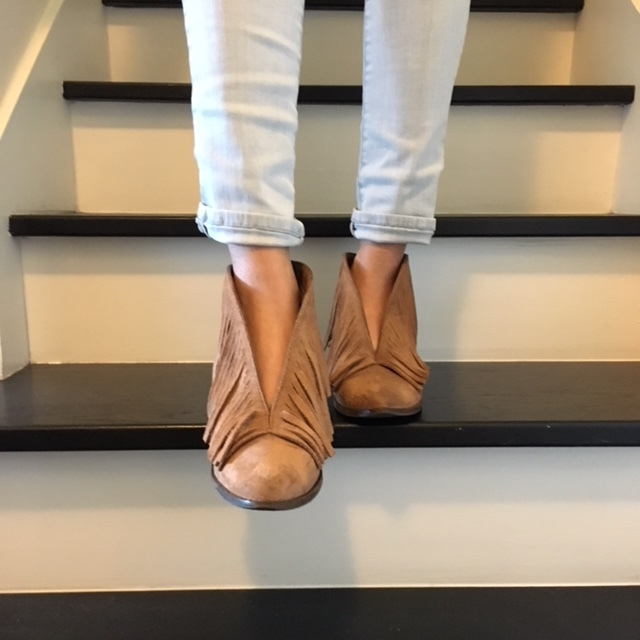 Coconuts By Matisse suede fringe boots:  – literally have these in 3 colors! Comfortable, easy to clean, I can dress them up or down