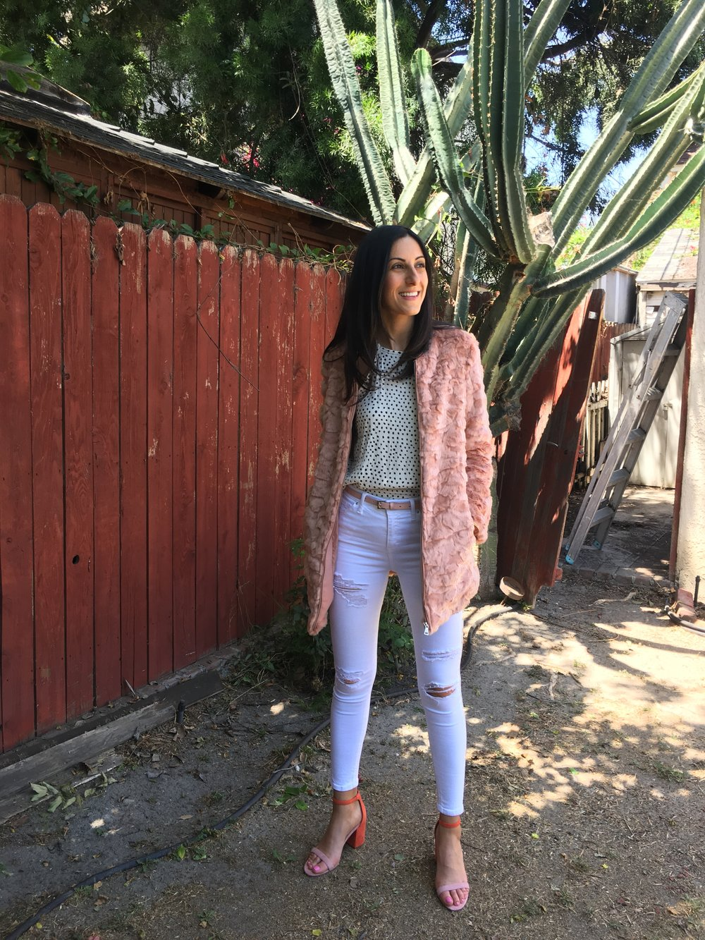 Just for fun... - This is just an example of something Fun. A mix of different shades of pinks and polka dot blouse. Don't be afraid of color and mixing in some prints. Faux Fur pink coat from Forever 21, blouse from Billabong, and shoes from Matisse Footwear. (all vegan, duh!)