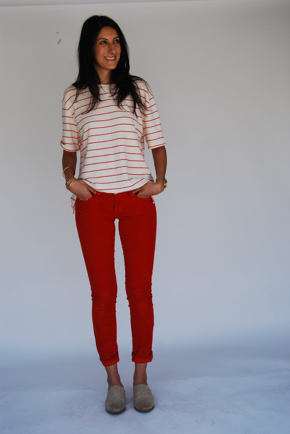 - 4. Red Cords and an oversized, striped, texture tee. This has a kinda tom-boy vibe, which I dig. That's usually more my style. But the cords are pretty tight, so that makes it more feminine. Again, some color, but still comfortable and versatile.