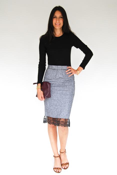 - Black body con dress + grey pencil skirt layered on top + cheetah strappy heels + plum clutch