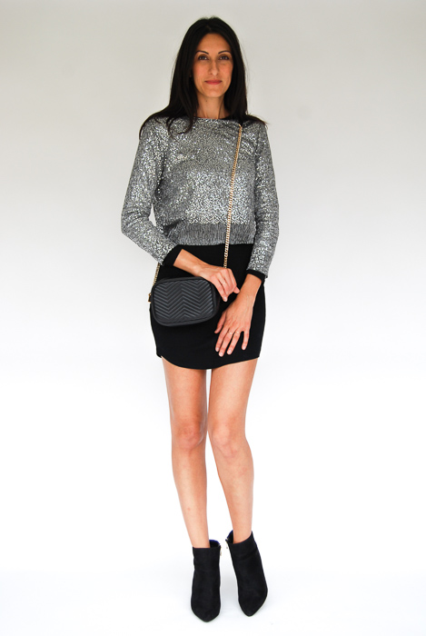 - black body con + sparkley sweater layered on top + black ankle boots