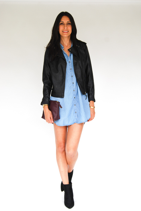 - chambray dress + vegan leather jacket + black ankle boots + plum clutch