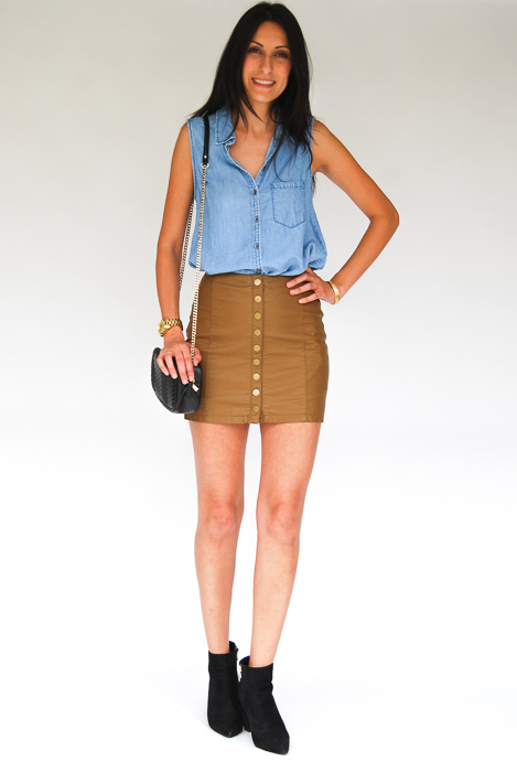 - chambray dress tucked into vegan leather mini + black ankle boots + black crossbody