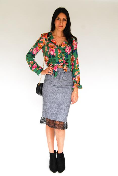 - Zara printed blouse + grey pencil skirt + black ankle boots + black crossbody
