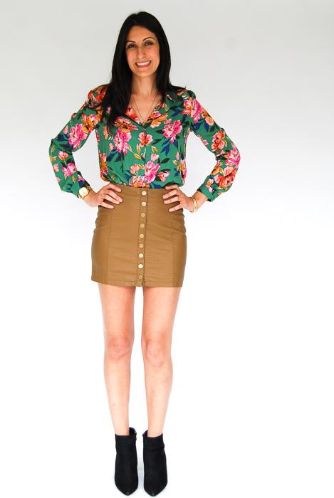 - Zara printed blouse + vegan leather mini + black ankle boots
