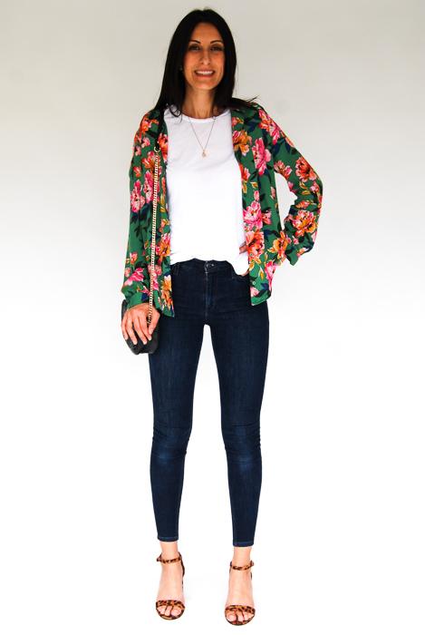 - white tee + Zara printed blouse open, on top + Joe's skinnies + cheetah strappy heels + black crossbody