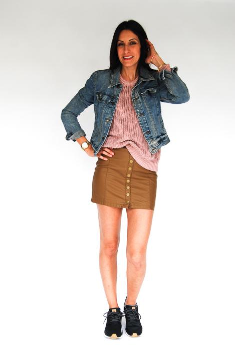 - vegan leather mini + blush pullover + denim jacket + Roxy sneakers