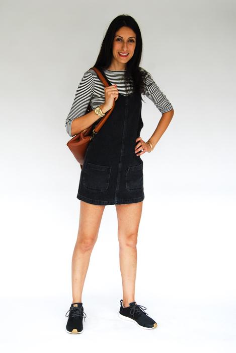 - black jumper + 3 quarter sleeve tee + Roxy sneakers + tan backpack