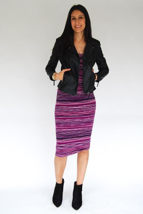 - purple sweater midi + vegan leather jacket + black ankle boots