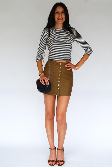 - vegan leather mini + 3 quarter sleeve tee + cheetah strappy heels + black crossbody