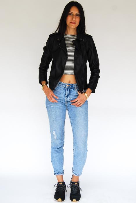 - Zara light wash relaxed denim + 3 quarter sleeve tee + vegan leather jacket + Roxy sneakers