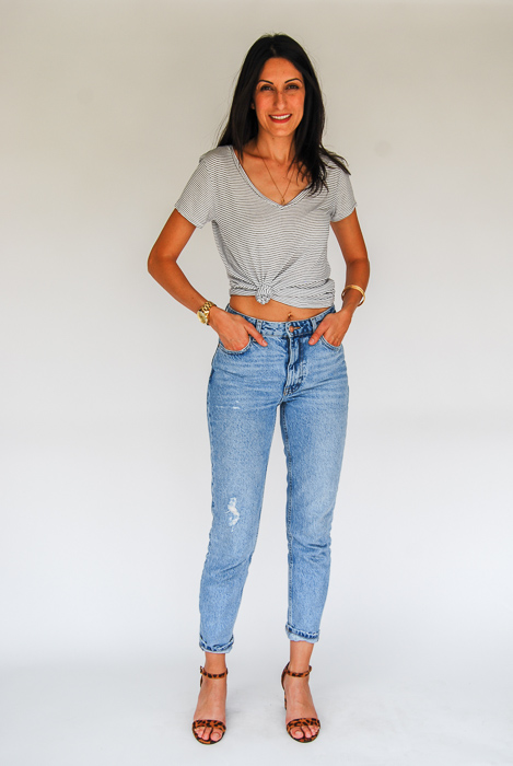 - Zara light was relaxed denim + v-neck striped tee knotted on the side + cheetah strappy heels