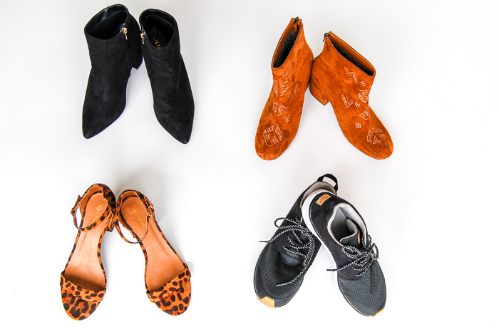 - Shoes- Billabong tan faux suede ankle boots, Black Roxy sneakers, Cheetah strappy heels, black faux suede ankle boots