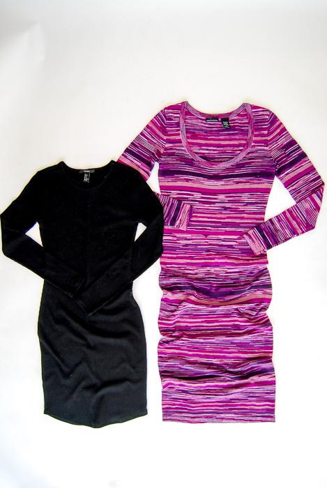 - Body Con Dresses - black mini, purple sweater midi
