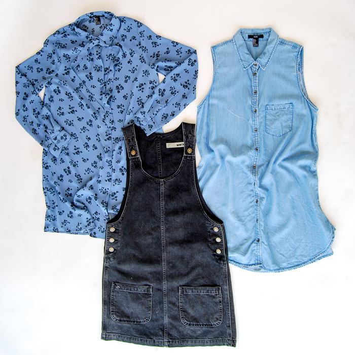 - Dresses cont. - Blue printed button up dresss, chambray button up dress, Topshop black denim jumper