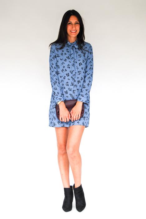 - blue printed dress + black ankle boots + plum clutch