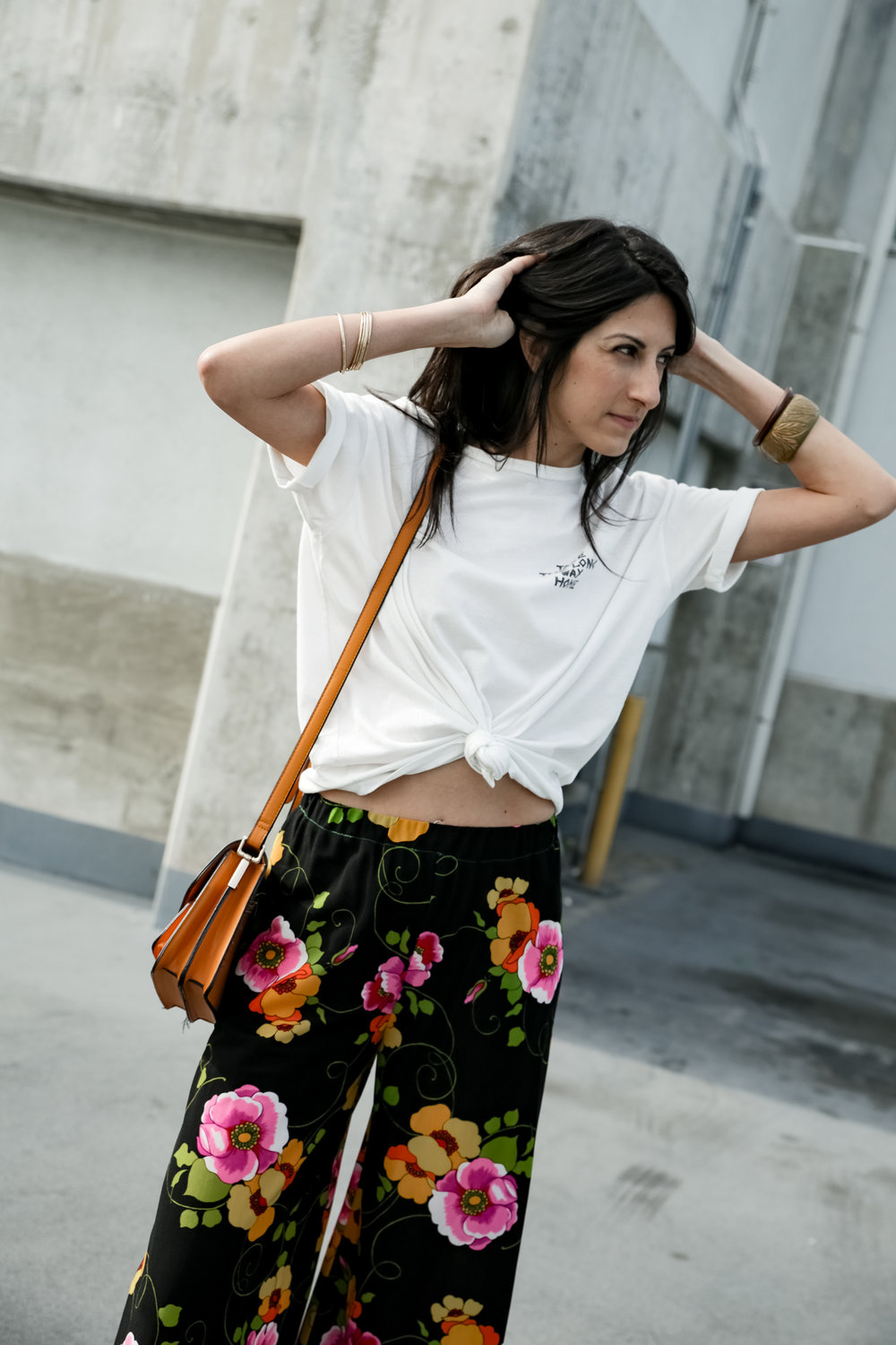 - 7. Crazy pants (Vintage from Kokorokoko Chicago) - knotted up, black boots, mustard cross-body purse, 2 bangles from F21, staple jewels