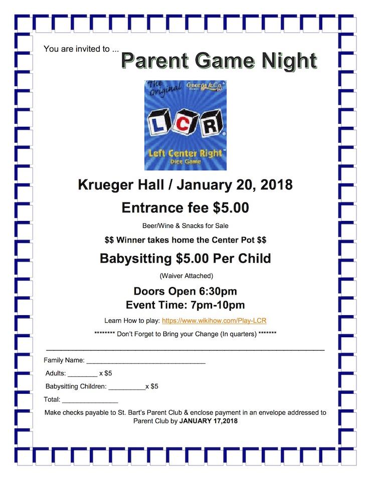 Parent Game Night — St. Bartholomew of Chicago