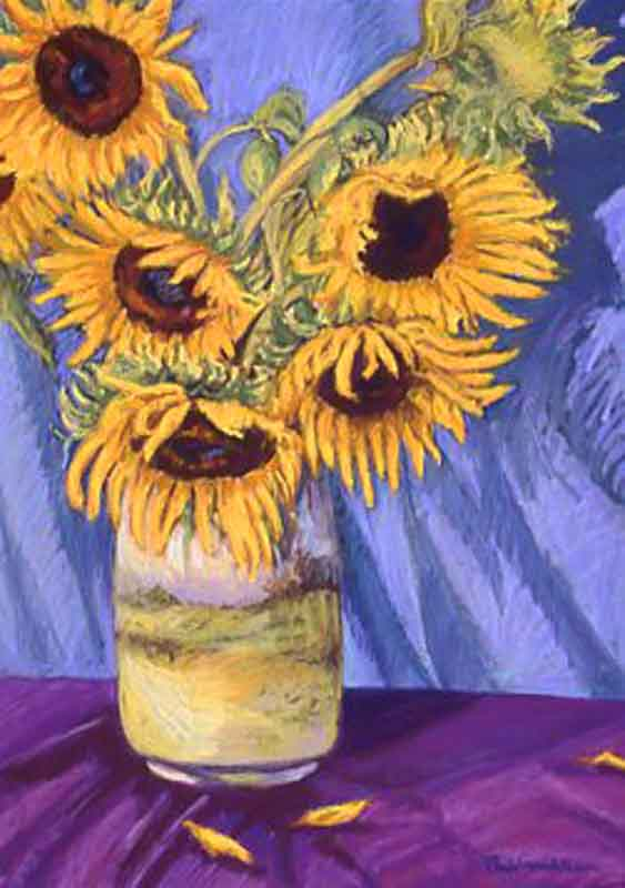Antique Vase with Sunflowers