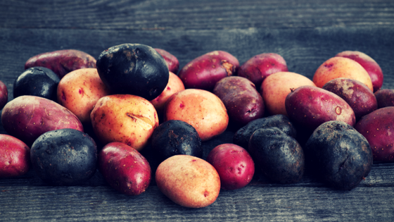 Colorful potatoes contain more and more varied nutrients and antioxidants than modern starchy Russets. Eat smaller, colorful potatoes when you can!