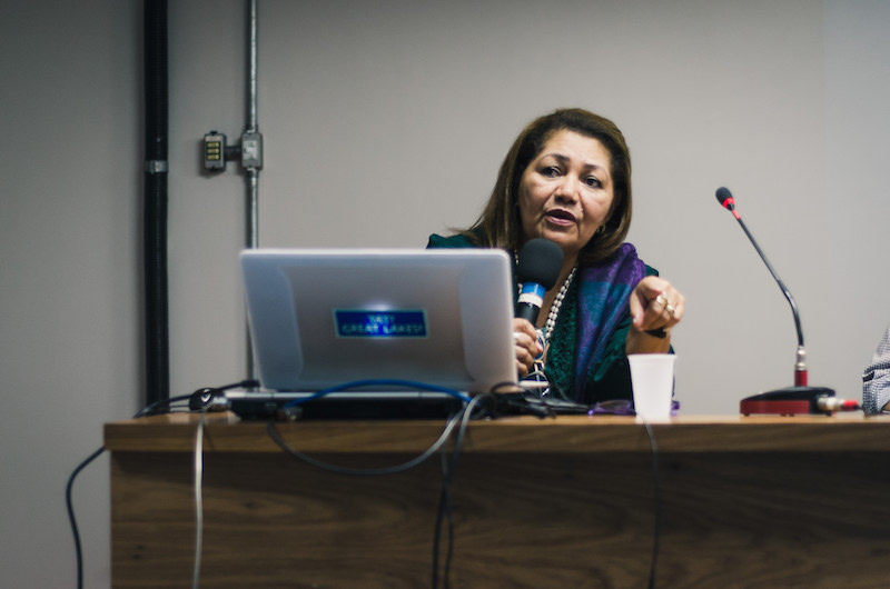 Professor Marilene Corrêa during the Master Class at the University of Brasília (UNB).