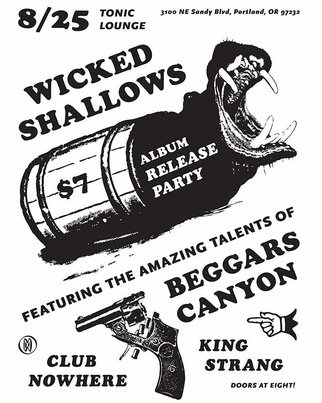 Get ready!!! Wicked Shallows is releasing our first record this August. Come see it live 8/25 with homies @beggars_canyon @that_nowhere_band and @kingstrangmusic  #live #music #party #recordrelease #pdx  #toniclounge #band #show #punk #thrashgrass #folkpunk #strang