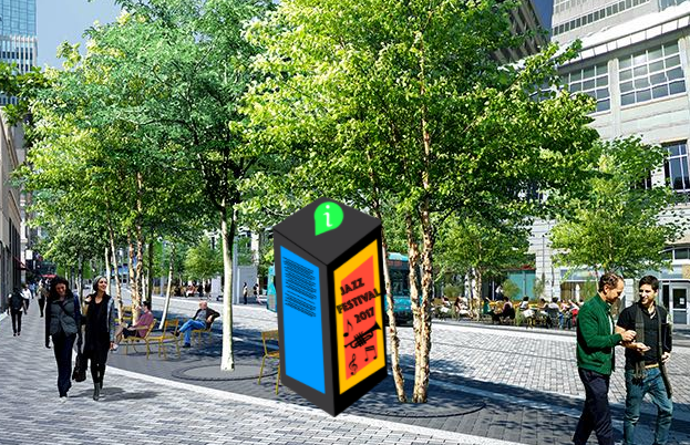 Large kiosk with vertical screen. Modeled after the IKE brand deployed in Denver, Colorado.