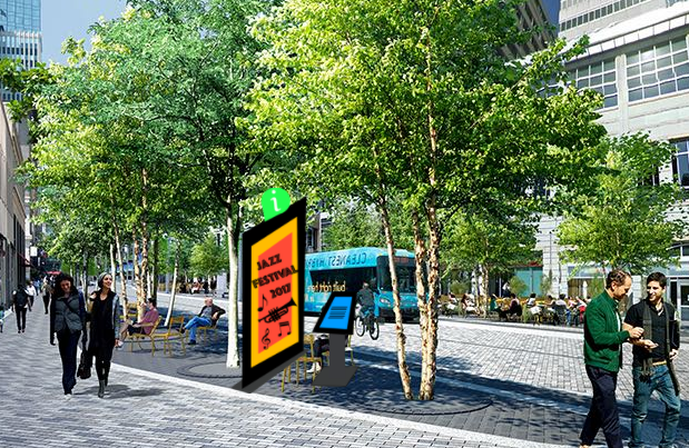 Small kiosk with slanted screen. Modeled after the IKE brand deployed in the Mall of America. The advertisement is separate from the kiosk.