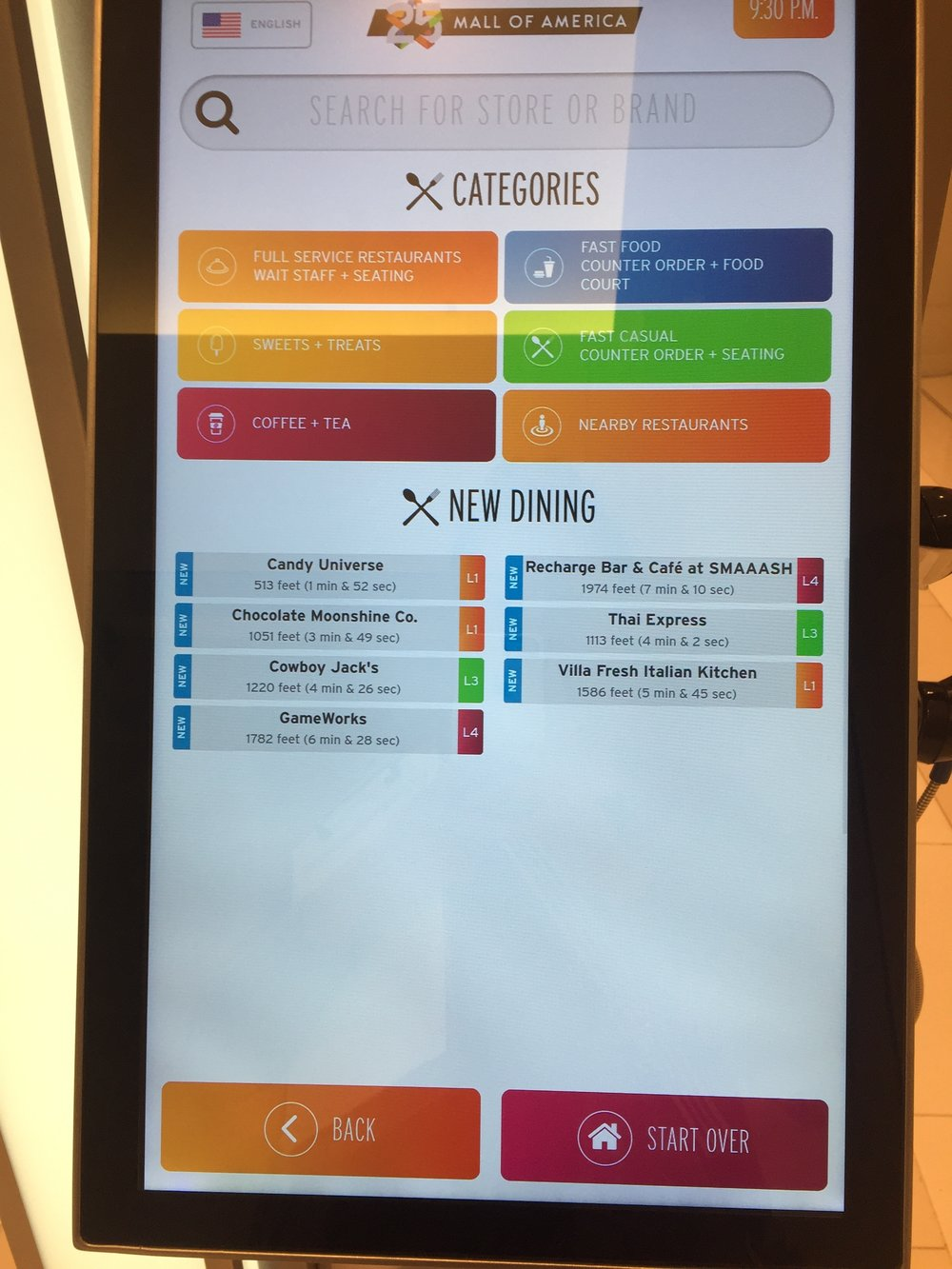 Search options for the MOA kiosk.